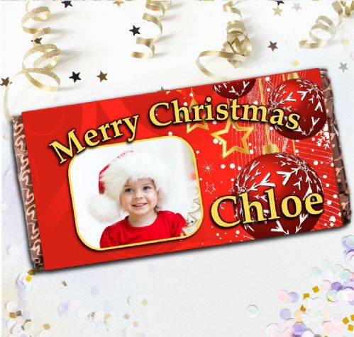 Personalised Christmas Milk Chocolate Bar - Merry Christmas Stocking filler Gift N21